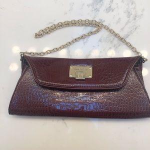 Anne Klein Textured Patten Leather Clutch